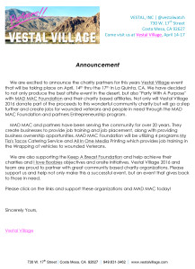 Microsoft Word - Vestal Village 2016 Charity Announcement.doc