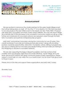 Microsoft Word - Vestal Village 2016 Charity Announcement.doc